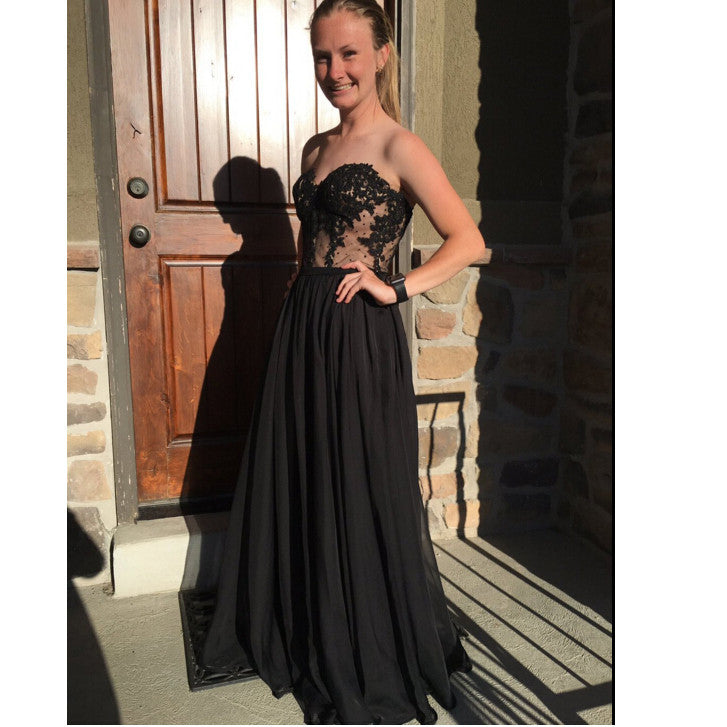 Black Long Prom Dress Cocktail Party Gown pst0804