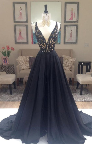 Black Prom Dress Evening Party Gown Deep V Neckline pst0811