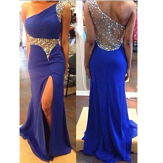 Royal Blue Prom Dress With High Slit pst0812