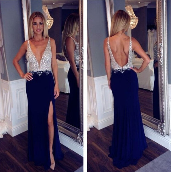 Sexy Prom Dress With High Slit Evening Dress With Deep V Back pst0815