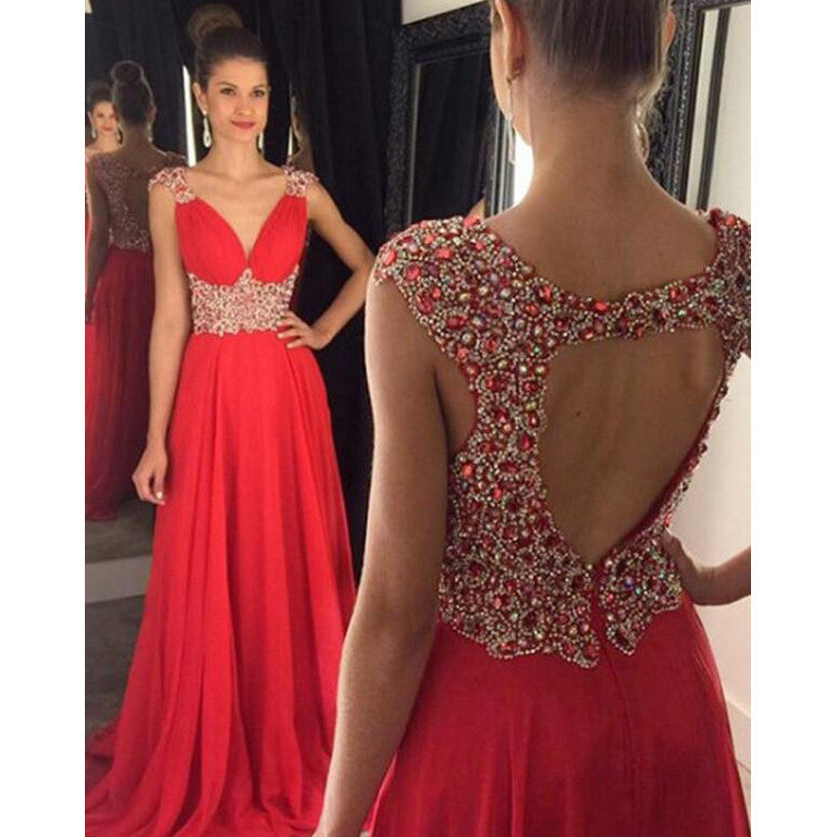 Red Prom Dress Evening Pary Gown pst0857
