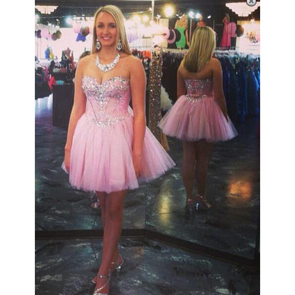Pink Prom Dress Short Homecoming Dresses pst0873