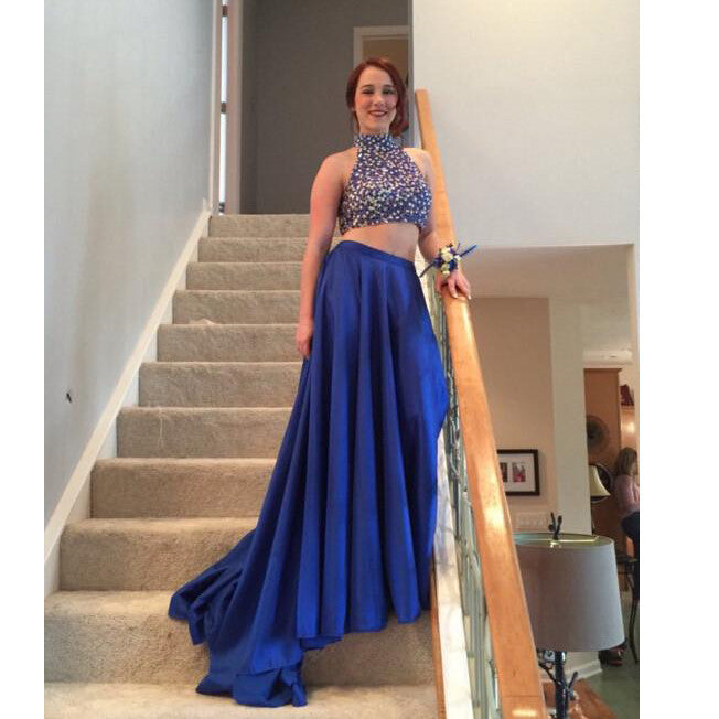 Royal Blue Prom Dress Two Pieces Evening Party Gown pst0887