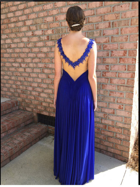 Royable Blue Prom Dress Evening Party Dresses pst0894