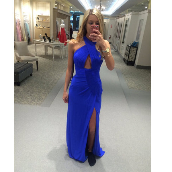 Royal Blue Prom Dress With Slit Long To Floor pst0903