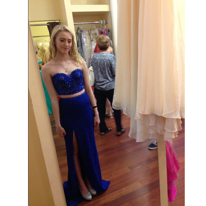 Royal Blue Prom Dress With Slit pst0905