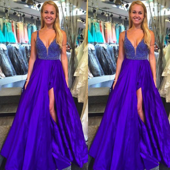 Royal Blue Prom Dresses With Slit Ball Gown pst0914 – BBDressing