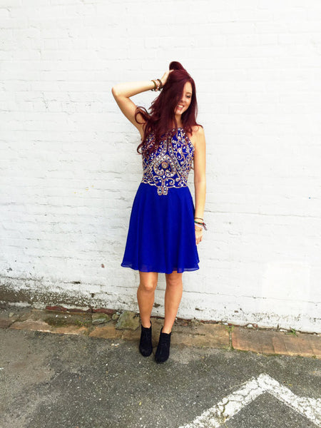 Royal Blue Homecoming Dress Short Prom Dresses pst0919