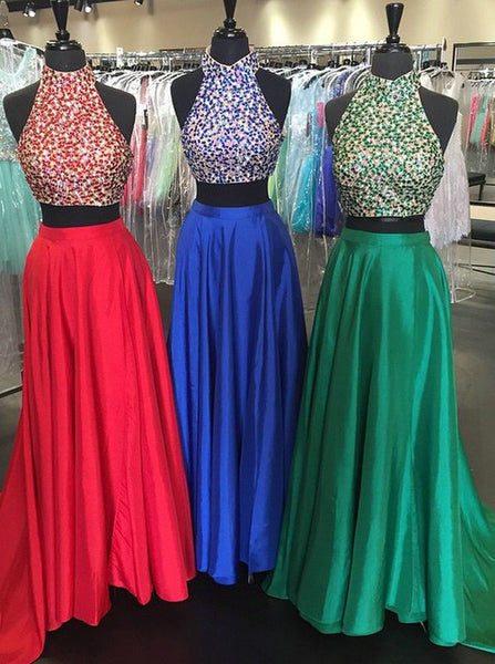 Two Pieces Prom Dress High Neckline Prom Dresses Evening Party Gown pst0930