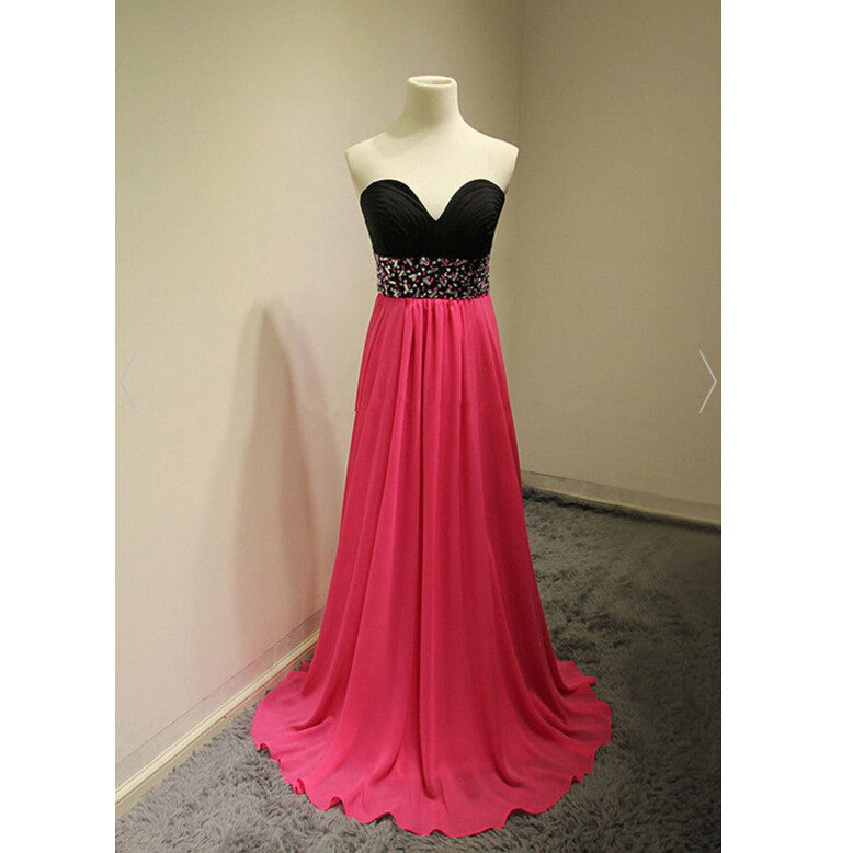 Two Colored Prom Dress Sweetheart Neckline Evening Party Gown pst0932