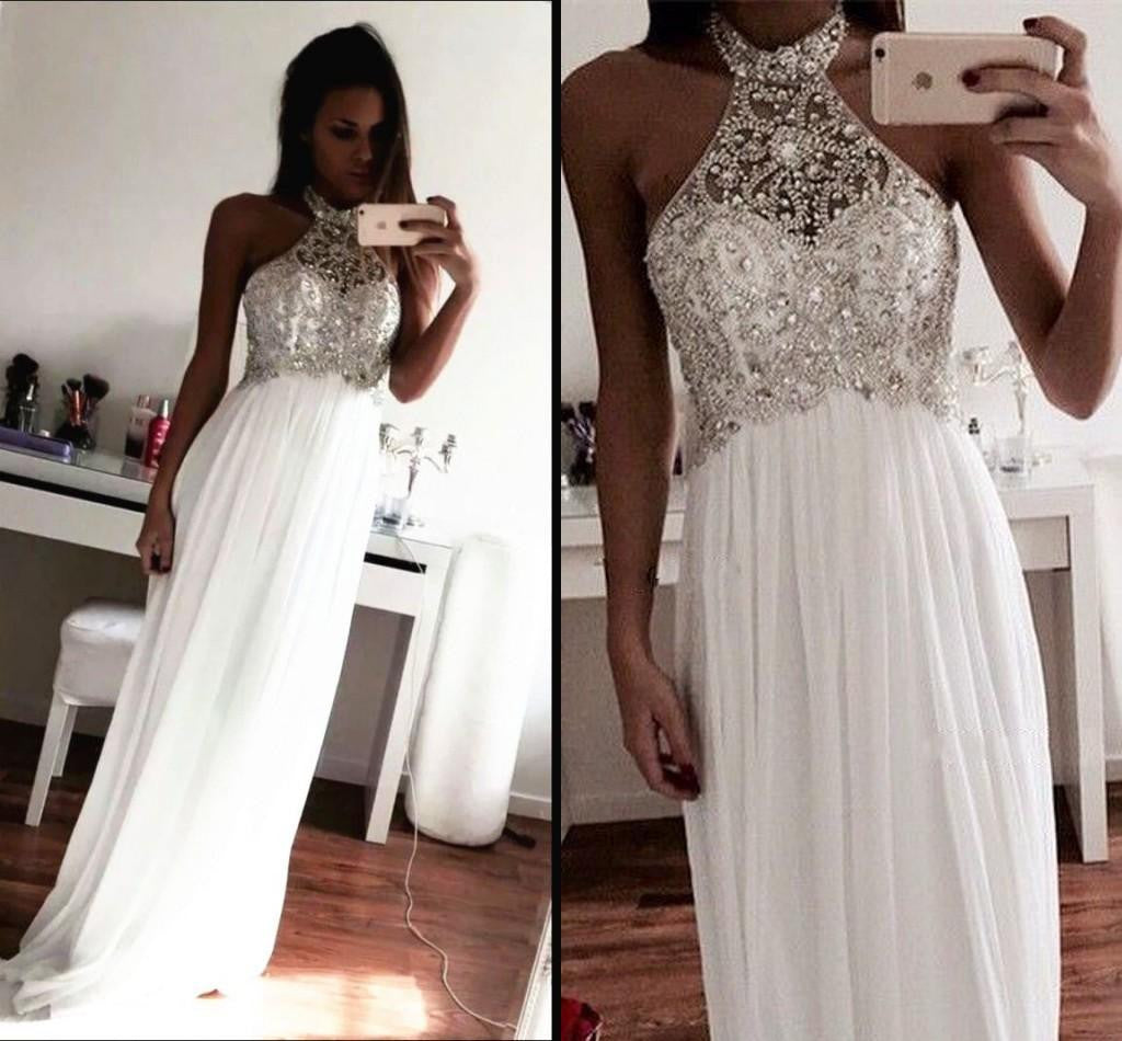 White Prom Dress With Beading And Stones Evening Party Dresses pst0941