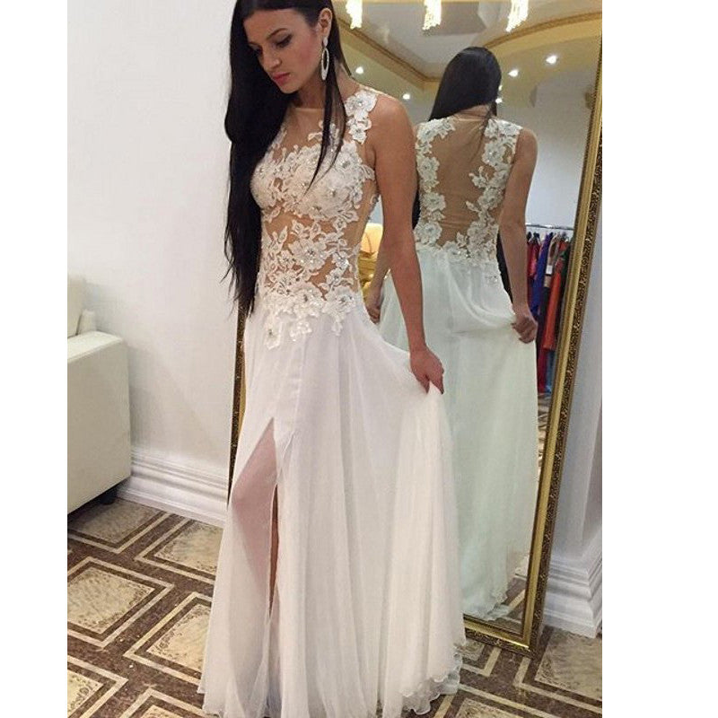 Sexy Prom Dress With High Slit Party Dresses pst0950