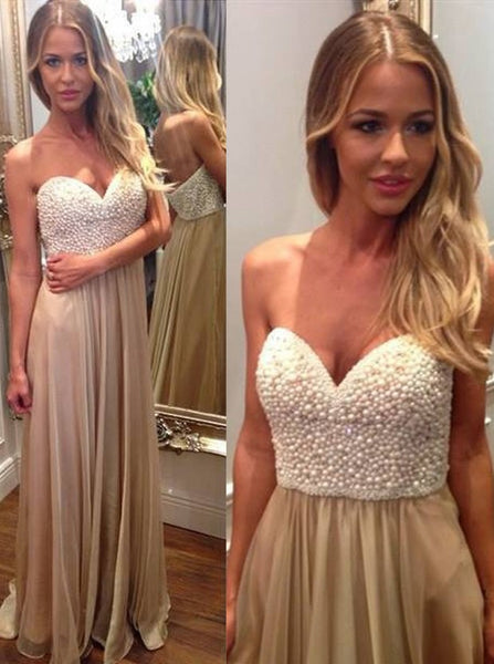 Long Prom Dress With Pearls Top Formal Dresses pst0955