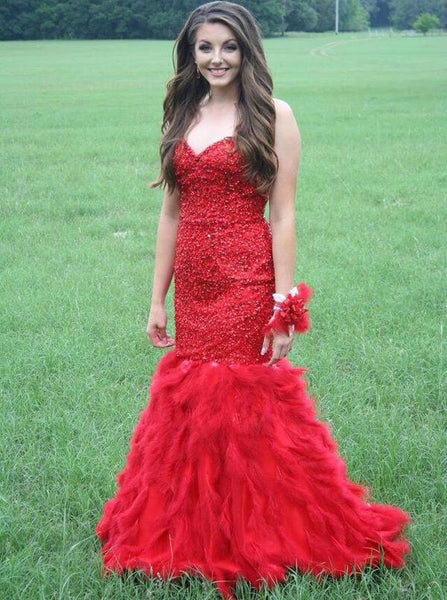 Fitted and Flared Red Prom Dress Evening Party Dresses pst0965