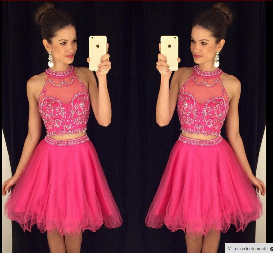 2016 Homecoming Dresses 2 Piece Red Sparkly Short Summer Wedding Party Dress pst0971