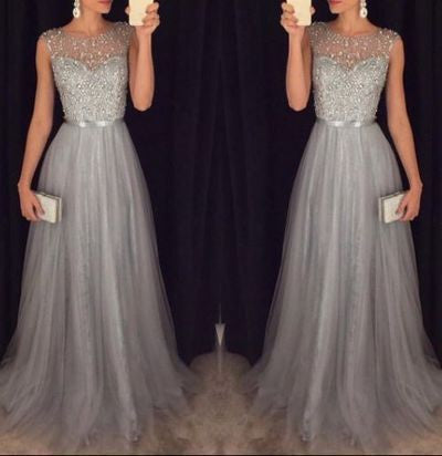 Silver Beaded Tulle Celebrity Prom Dresses Formal Dresses Wedding Party Dresses