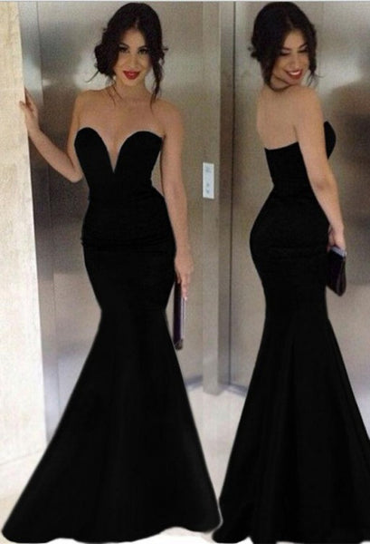 Black Prom Dress Sexy Mermaid Style Evening Party Gown pst0977