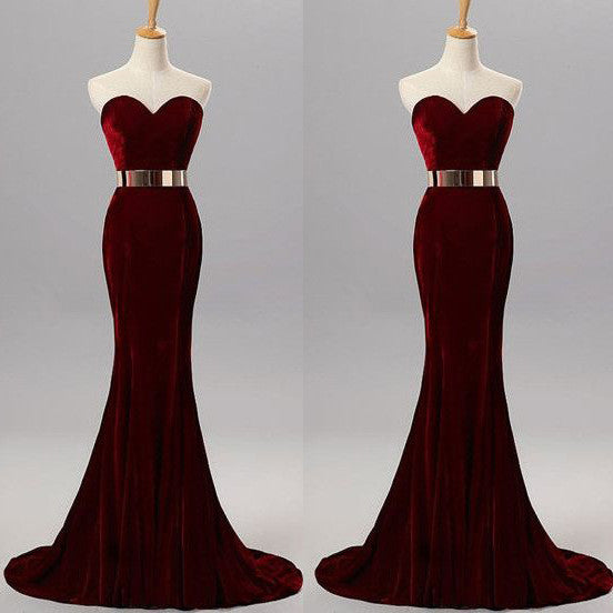 Burgundy Mermaid Prom Dress Sweetheart Neckline Evening Party Gown pst0981
