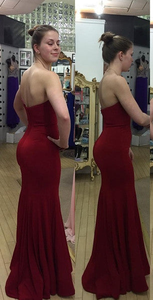 Fitted Prom Dress Burgundy Color Evening Party Gown pst0987