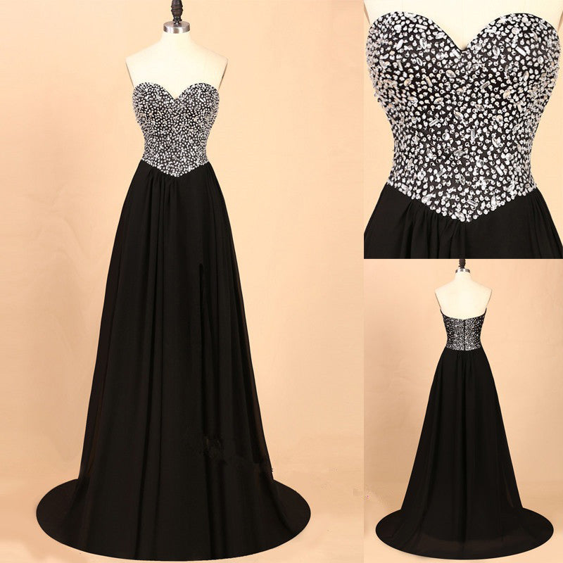 Black Prom Dresses With Beading Stones Evening Party Dress pst0995