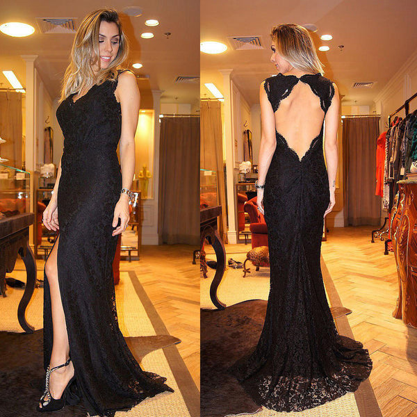Black Lace Prom Dress Evening Party Gown With Slit pst1016