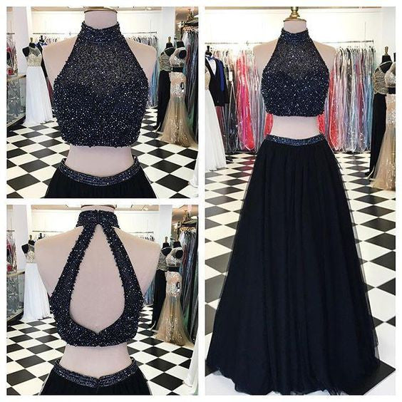 Two Pieces Black Prom Dresses High Neckline Evening Party Dress pst1017