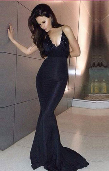 Black Mermaid Prom Dresses Evening Party Gown pst1023
