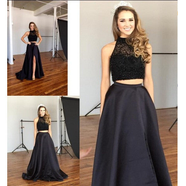 Prom Dress In Two Pieces Evening Party Gown Halter Neckline pst1028