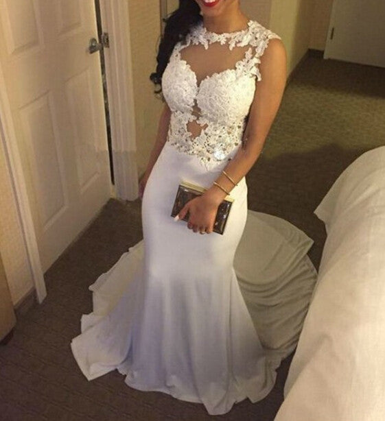 White Prom Dresses Formal Dress Party Gown pst1043