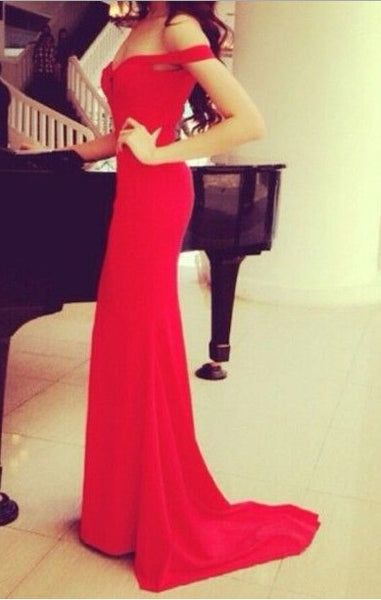 Red Lace Prom Dress Evening Wear pst1051