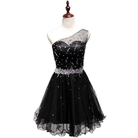 Black Homecoming Dress With Single Strap Evening Party Gown pst1058