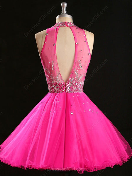 Pink Homecoming Dress Short Prom Dress Evening Party Gown pst1060