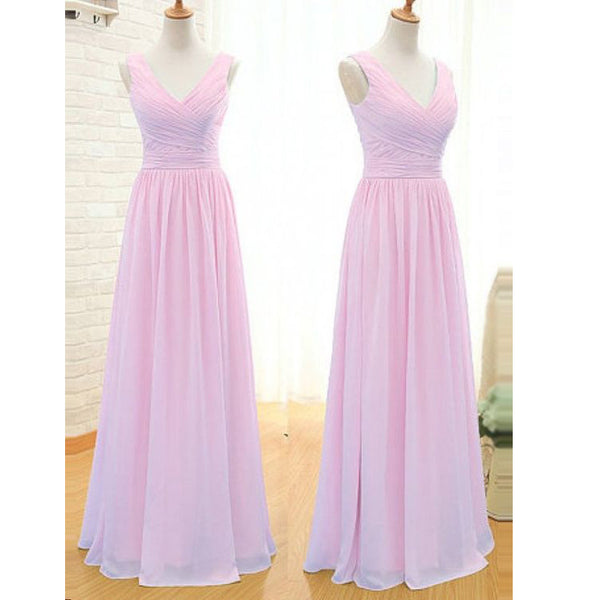 V Neckline Bridesmaid Dresses Simple Prom Dress pst1067
