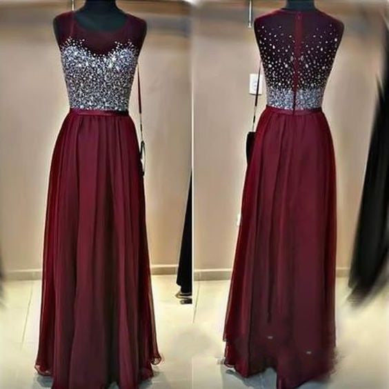 Chiffon Prom Dresses Beaded Formal Wear pst1321