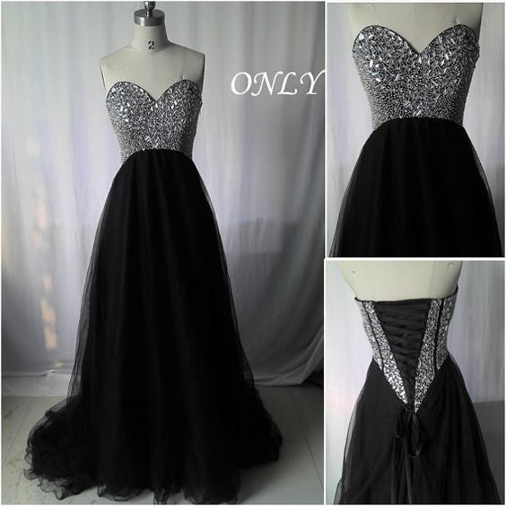 Sweetheart Neckline Prom Dress With Stones Evening Party Gown pst1323