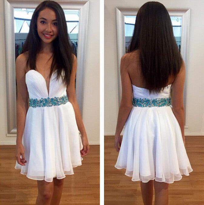 Simple Short White Prom Dress Homecoming Dresses pst1337