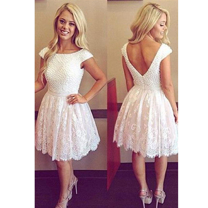 Lace Homecoming Dress With Pearls Short Prom Dress pst1348