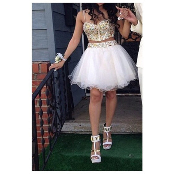 Two Pieces Homecoming Dress Short Prom Dresses pst1356