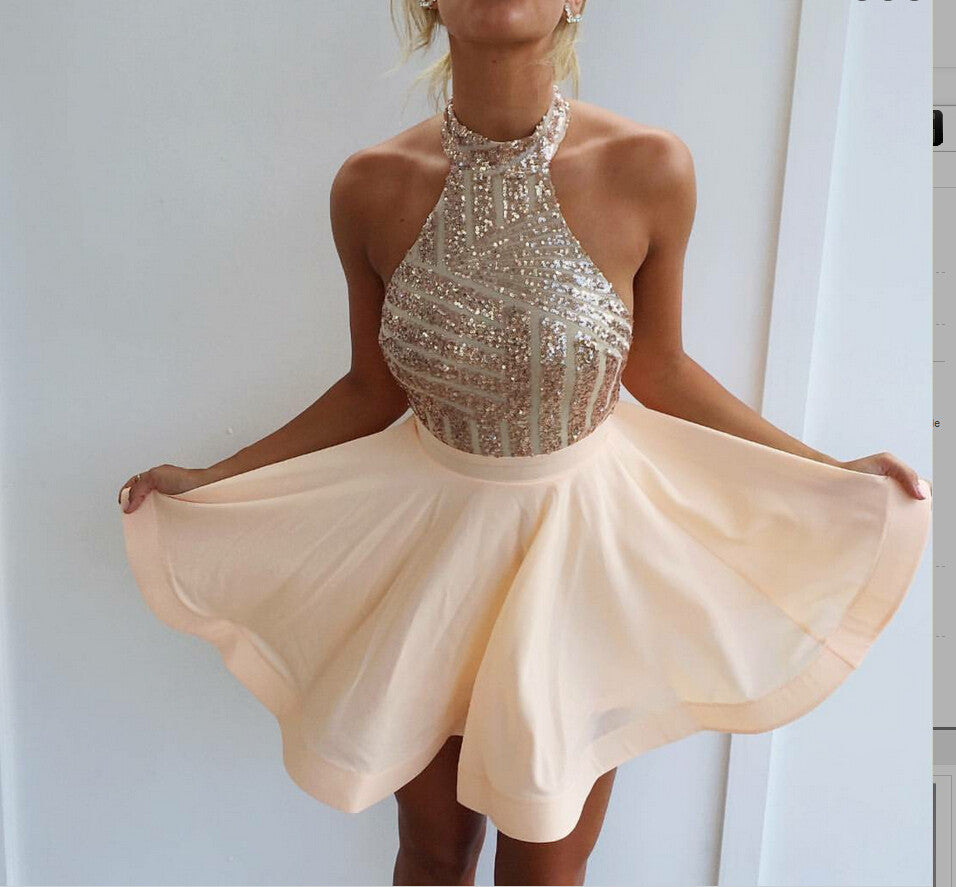 Homecoming Dresses Short Blush Pink Prom Dress Sequin Gowns For Pageant pst1359