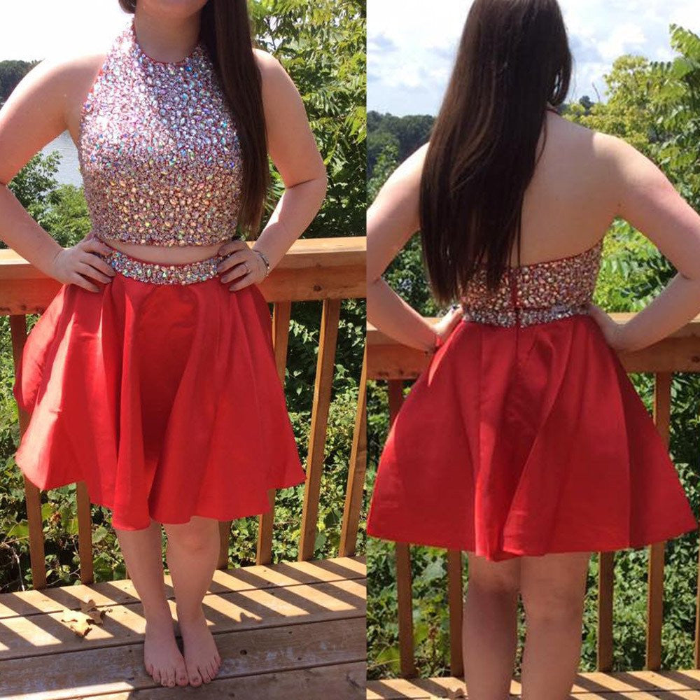 Two Pieces Homecoming Dress Beaded Bodice Short Prom Dresses pst1361