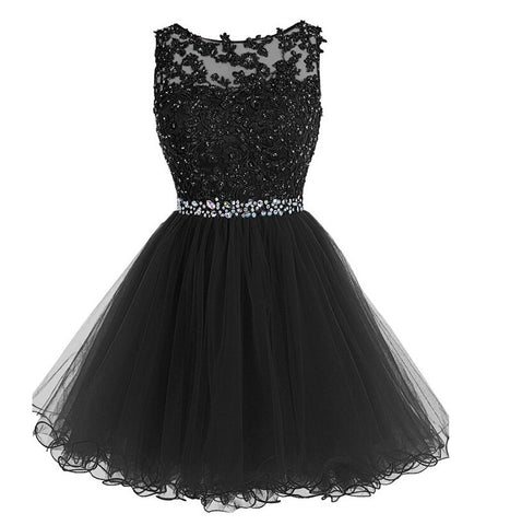 Black Homecoming Dress 2016 Short Prom Dresses pst1366