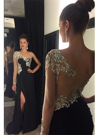 Black Prom Dress with Slit Prom Dresses with One Sleeves pst1422