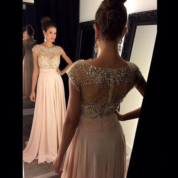 Long Prom Dress with Beaded Top pst1428