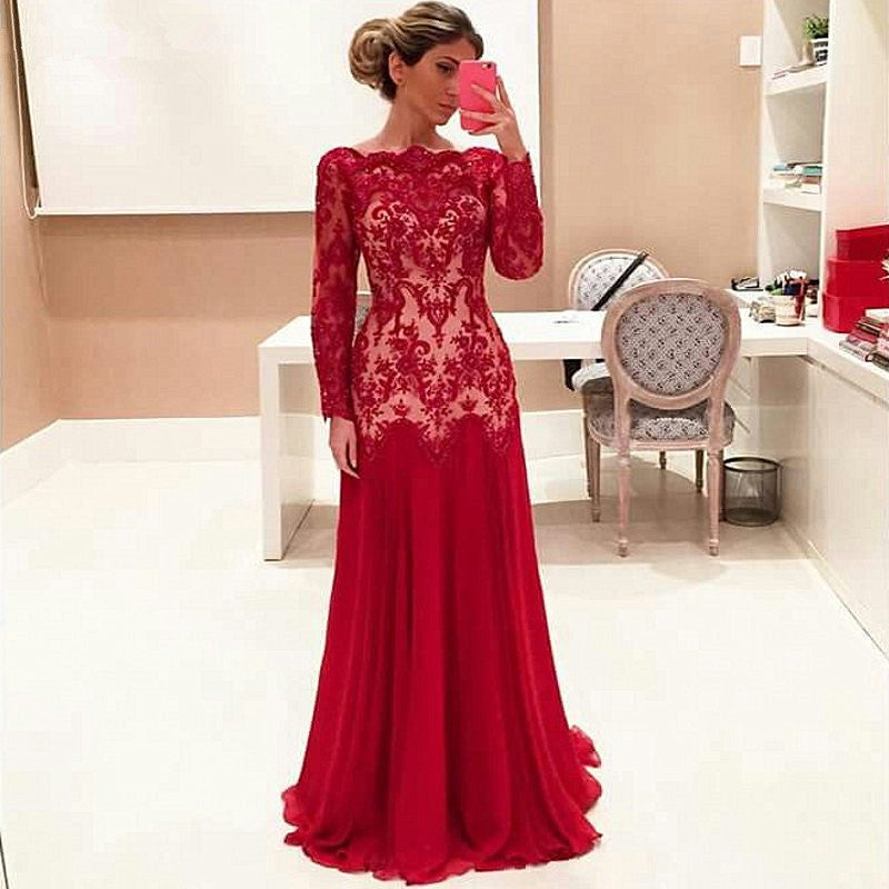 Red Prom Dress Long Sleeves Prom Dresses Wedding Party Gown Cocktail Formal Wear pst1433