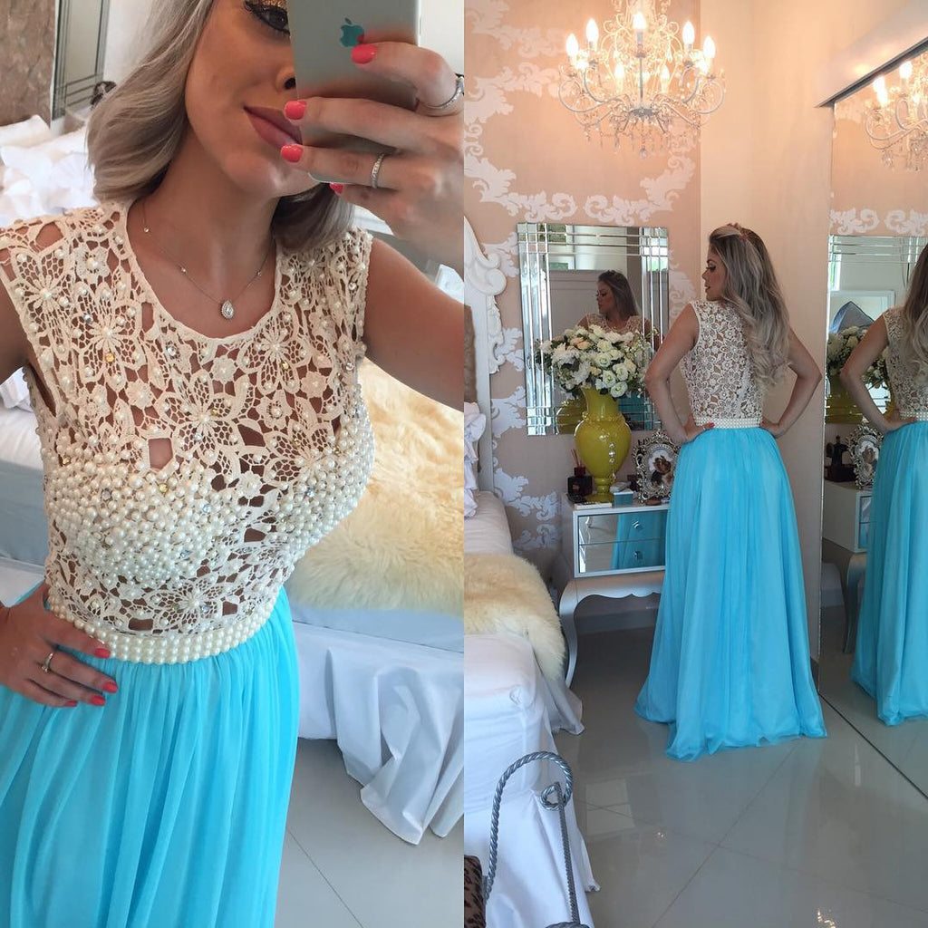 Fashion Prom Dress with Lace Bodice and Pearls pst1451