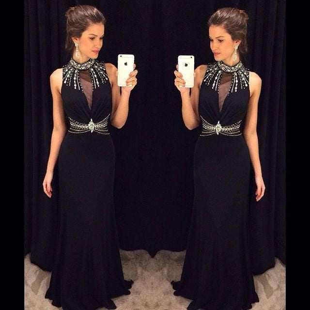 Black Prom Dress with Halter Neckline pst1476