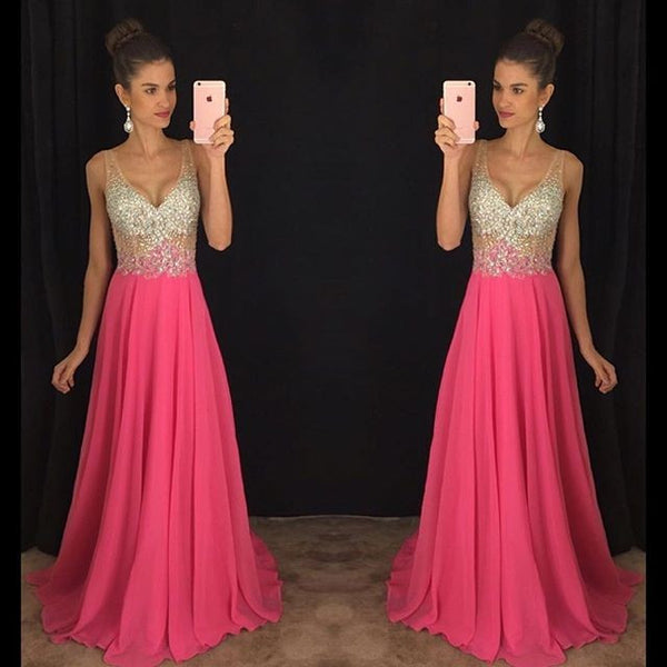 Fashion V Neckline Prom Dresses Party Gown Cocktail Formal Wear pst1533