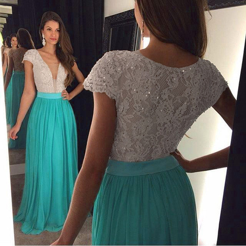 Fashion Chiffon and Lace Prom Dress Graduation Party Dresses Formal Dress For Teens pst1565