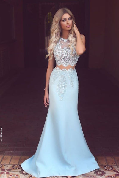 Two Pieces Prom Dress, Light Blue Prom Dresses, Graduation Dresses, Formal Dress For Teens, pst1572