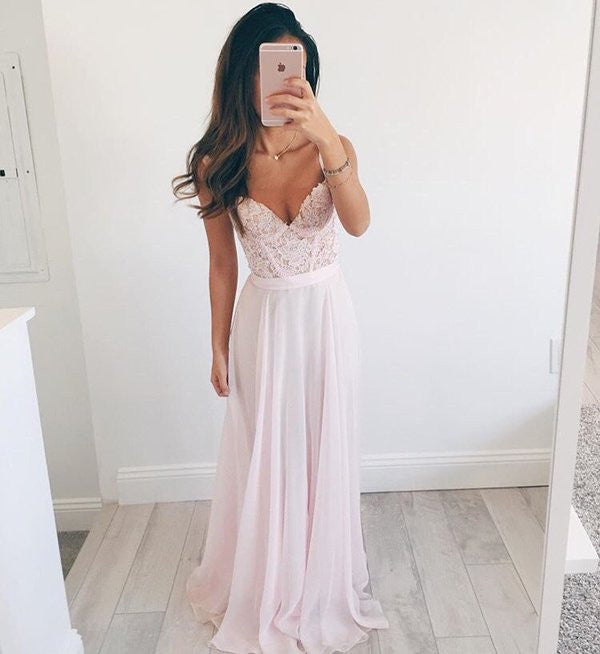 Baby Pink Prom Dress, Chiffon Prom Dresses, Evening Gown, Graduation Dresses, Formal Dress For Teens, pst1582